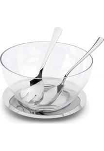 Conjunto Saladeira Andrea Premium Média Talheres 4 Pç Forma