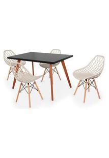 Conjunto Mesa De Jantar Gih 120X80Cm Preta Com 4 Cadeiras Vision - Nude