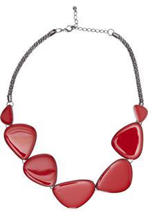 Colar Feminino Pedras - Vermelho