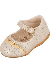 Sapato Beakid Boneca Verniz Dourado