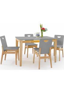 Mesa De Jantar 4 Cadeiras Tucupi 120Cm - Acabamento Stain Natural E Cinza Concreto