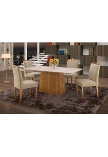 Conjunto De Mesa De Jantar Com 6 Cadeiras E Tampo De Madeira Maciça Turquia Suede Creme E Off White