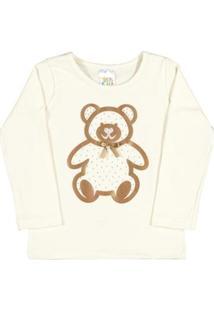 Blusa Natural-Bebê Menina-Cotton-35605-68 - Feminino-Branco