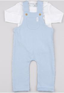 Jardineira Infantil Com Bolso Azul + Body Manga Longa Off White