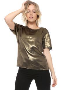 Camiseta Carmim Metalizada Dourada