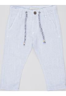 Calça Infantil Texturizada Listrada Com Bolsos E Cordão Azul