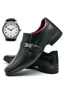 Sapato Social Fashion Com Relógio New Dubuy 827El Preto