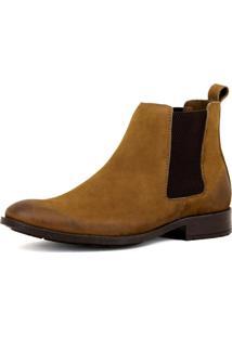 Bota Chelsea Masculina Mr Shoes Em Couro Caramelo - Kanui