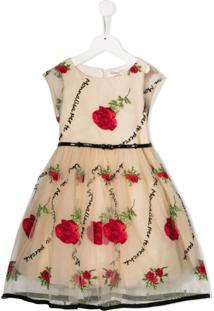 Monnalisa Vestido De Tule Com Bordado Floral - Neutro