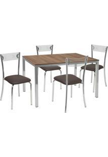 Conjunto De Mesa Com 4 Cadeiras Maria Corino Marrom E Cromado