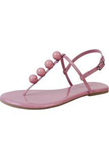 Sandã¡Lia Rasteira Mercedita Shoes Verniz Opala Bola Ultra Macia - Rosa - Feminino - Dafiti