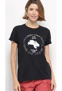Camiseta Hapuna Baby Look Natural Wild Feminina - Feminino-Preto