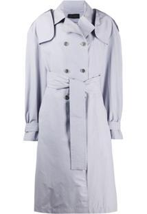 Mr & Mrs Italy Trench Coat Com Abotoamento Duplo - Cinza