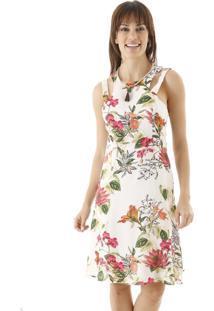 Vestido Curto Reto Estampa Floral Com Recortes - Off-White - Feminino - Dafiti