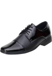 Sapato Social Slz Verniz Masculino - Masculino-Preto