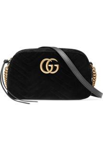 e6de0a483 Gucci Bolsa 'Gg Marmont' Pequena De Veludo - Preto