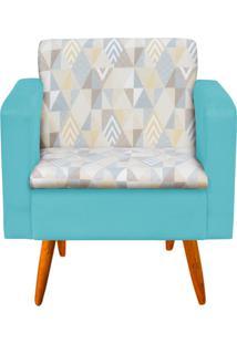 Poltrona Decorativa Emília Linho A17 Com Suede Azul Tiffany - D'Rossi