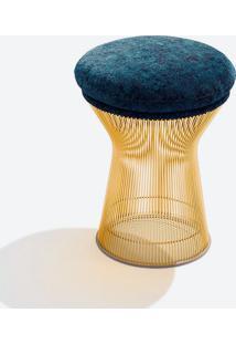 Banqueta Warren Platner - Dourado Linho Impermeabilizado Azul - Wk-Ast-34