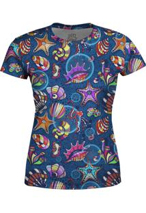 Camiseta Estampada Baby Look Over Fame Azul