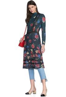Vestido Amaro Evasê Midi Crepe Leve - Feminino