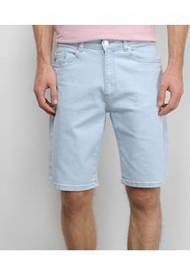 Bermuda Jeans Lacoste Relax Fit Reta Masculina - Masculino-Azul+Branco