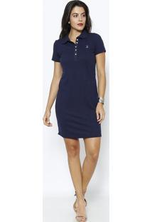 Vestido Em Piquê - Azul Marinhoclub Polo Collection