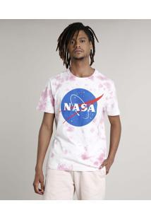 Camiseta Masculina Carnaval Lunar Estampada Tie Dye Manga Curta Gola Careca Rosa