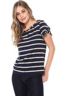 Camiseta Ana Hickmann Listrado Azul-Marinho/Bege