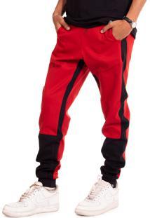 Calça Jogger Elastik Synthetic Inc. - Vermelha E Preto