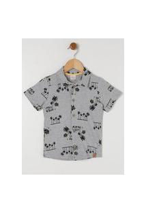 Camisa Manga Curta Infantil Para Menino - Cinza