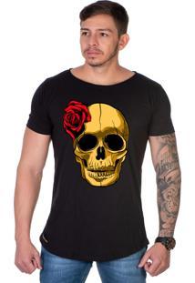 Camiseta Lucas Lunny Oversized Longline Motoqueiro Caveira Rosa