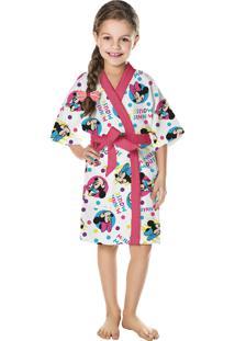 Roupão Felpudo Infantil Quimono Estampado Minnie Pp Com 1 Peça Lepper Azul