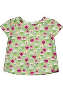 Camiseta De Banho Iplay Cupcake Verde.