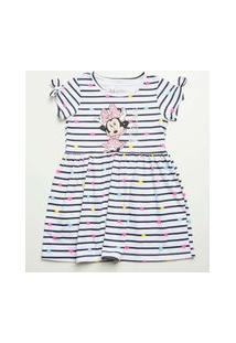 Vestido Infantil Listrado Manga Curta Minnie Disney Tam 1 A 4