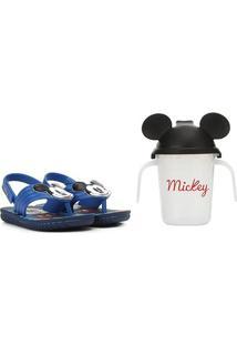 Sandália Infantil Disney Grendene Kids Mickey E Minnie Copinho Divertido Assandalhado Promo Baby - Masculino-Azul
