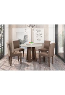 Conjunto De Mesa De Jantar Com Tampo De Vidro Isabela E 4 Cadeiras Giovana Veludo Off White E Marrom