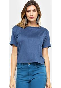 Camiseta My Favorite Thing (S) T-Shirt Ampla Bolso Feminina - Feminino-Azul