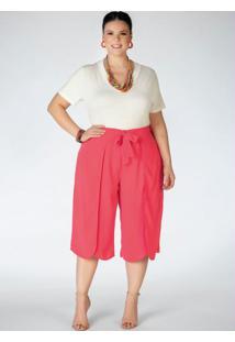 Blusa Plus Size Off White Gola V