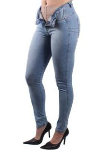 Calça Dioxe Jeans Com Cinta Modeladora Feminina - Feminino-Azul