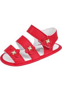 Sandália Para Bebê Lugui Menina Com Tiras Florais Vermelho