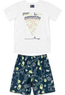 Pijama Pai E Filho Brilha Escuro Branco