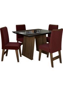 Conjunto De Mesa Para Sala De Jantar Com Tampo De Vidro E 4 Cadeiras Vigo -Dobuê Movelaria - Castanho / Preto / Vinho Bord