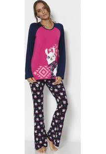 Pijama Lhama Com Recortes- Pink & Azul Marinho- Pukepuket