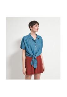 Camisa Manga Curta Em Jeans Com Amarração Na Frente E Elástico Nas Costas | Marfinno | Azul | Gg