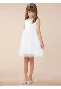Vestido Branco Em Cetim Bordado Menina Carinhoso