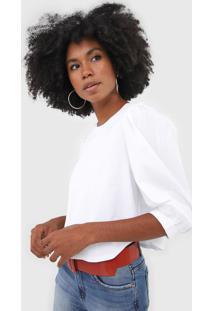 Camiseta Cropped Forum Mangas Bufantes Branca