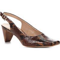 b5a0a7325 Scarpin Couro Shoestock Animal Print Salto Médio - Feminino-Caramelo