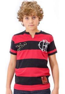 Camisa Flamengo Infantil Retrô Zico Masculina - Masculino-Preto+Vermelho