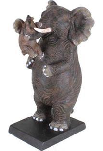 Escultura Udecor Elefante Com Filho Marrom