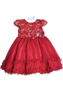 Vestido Infantil Menina Bonita Festa Vermelho/Dourado